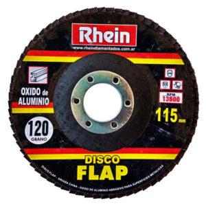 DISCO FLAP OXIDO ALUMINIO Rhein 4.5′ 115 grano 120 10 unid