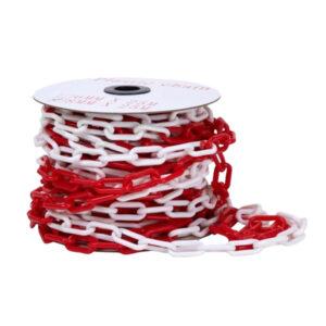 CADENA ESLABON PLASTICA 8 mm rojo y blanco Importada 25 mts